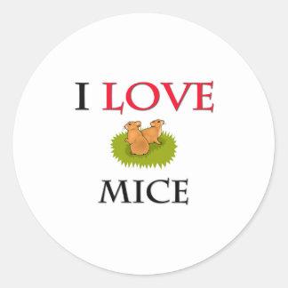 I Love Mice Round Sticker