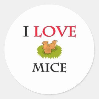 I Love Mice Round Stickers
