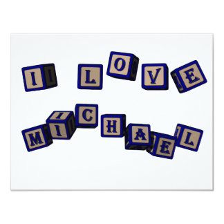 I love Michael toy blocks in blue Card