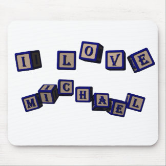 I love Michael toy blocks in blue Mouse Pad