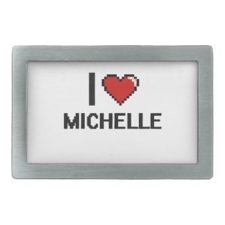 I Love Michelle Digital Retro Design Rectangular Belt Buckle