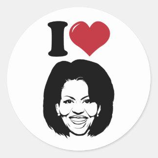 I Love Michelle Obama Classic Round Sticker