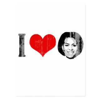 I Love Michelle red plain Vintage.png Postcard