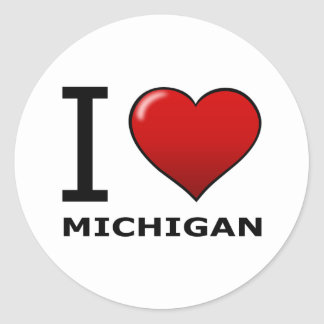 I LOVE MICHIGAN CLASSIC ROUND STICKER