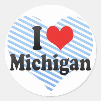 I Love  Michigan Classic Round Sticker