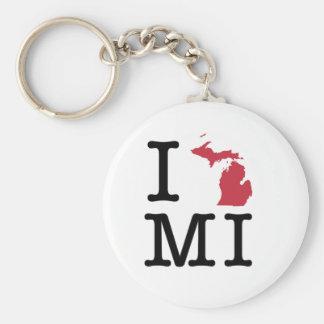 I Love Michigan Basic Round Button Keychain