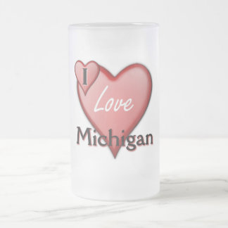 I Love Michigan 16 Oz Frosted Glass Beer Mug