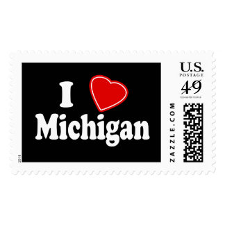 I Love Michigan Postage Stamps