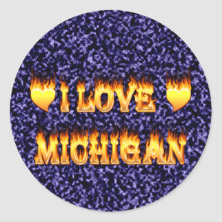 I love michigan round sticker