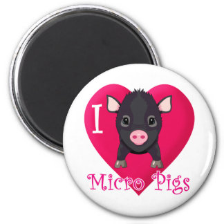 I Love Micro Pigs 2 Inch Round Magnet