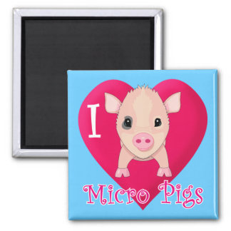 I Love Micro Pigs 2 Inch Square Magnet