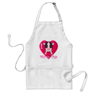 I Love Micro Pigs Adult Apron