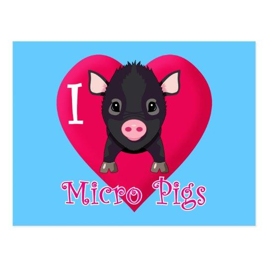 I Love Micro Pigs Postcard