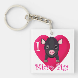 I Love Micro Pigs Single-Sided Square Acrylic Keychain