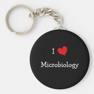 I Love Microbiology Basic Round Button Keychain