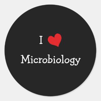 I Love Microbiology Classic Round Sticker