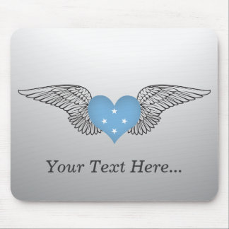 I Love Micronesia -wings Mouse Pad