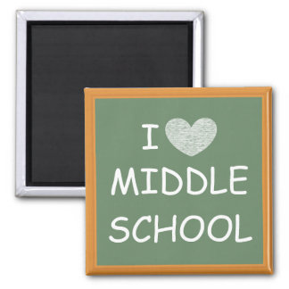 I Love Middle School 2 Inch Square Magnet
