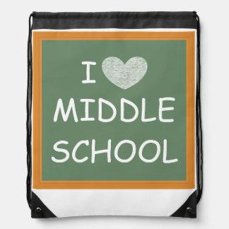 I Love Middle School Drawstring Bag