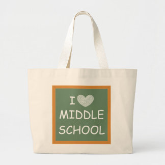 I Love Middle School Large Tote Bag