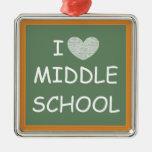 I Love Middle School Metal Ornament