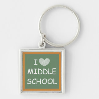 I Love Middle School Silver-Colored Square Keychain