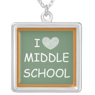 I Love Middle School Square Pendant Necklace