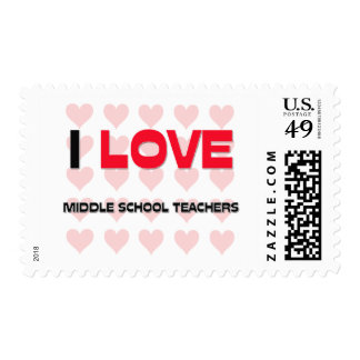 I LOVE MIDDLE SCHOOL TEACHERS POSTAGE STAMPS