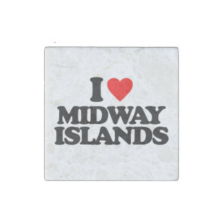 I LOVE MIDWAY ISLANDS STONE MAGNET
