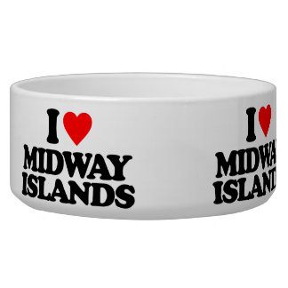 I LOVE MIDWAY ISLANDS DOG WATER BOWLS
