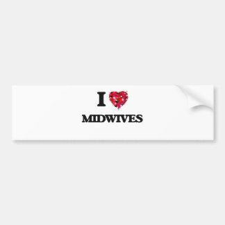 I Love Midwives Car Bumper Sticker