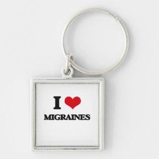 I Love Migraines Silver-Colored Square Keychain