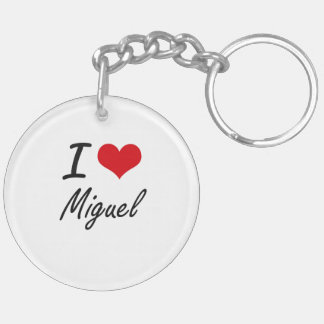 I Love Miguel Double-Sided Round Acrylic Keychain