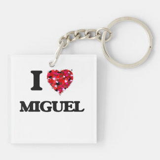I Love Miguel Double-Sided Square Acrylic Keychain