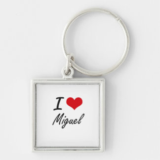 I Love Miguel Silver-Colored Square Keychain