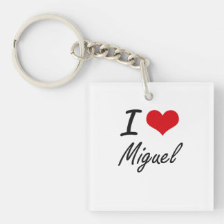 I Love Miguel Single-Sided Square Acrylic Keychain