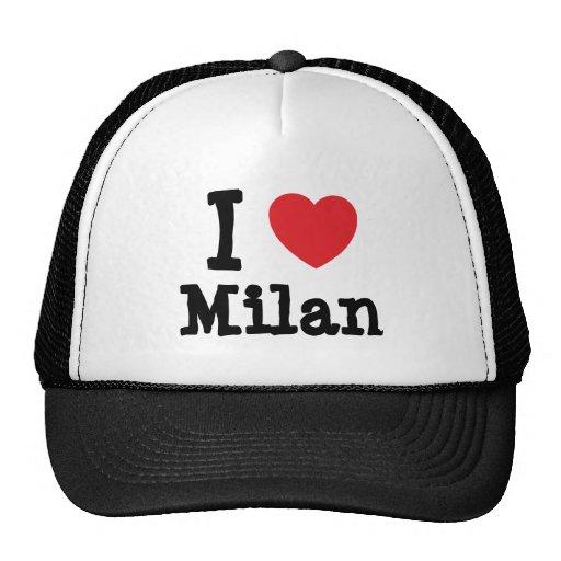 I love Milan heart custom personalized Mesh Hats