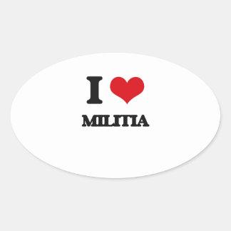I Love Militia Oval Sticker