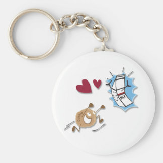 I love milk and cookies! basic round button keychain