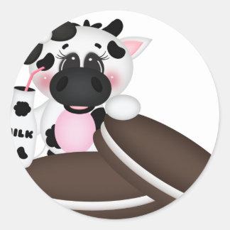 I Love Milk Cow Classic Round Sticker