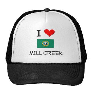 I Love Mill Creek Washington Mesh Hats