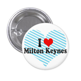 I Love Milton Keynes, United Kingdom Pinback Buttons