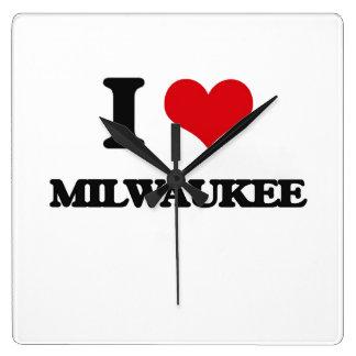 I Love Milwaukee Square Wallclock
