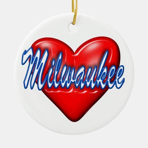 I Love Milwaukee Wisconsin Double-Sided Ceramic Round Christmas Ornament