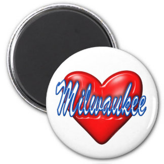 I Love Milwaukee Wisconsin 2 Inch Round Magnet