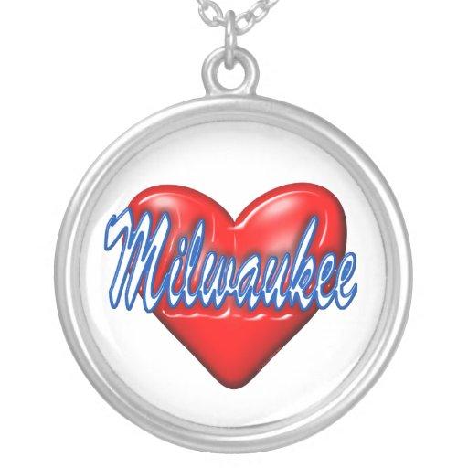 I Love Milwaukee Wisconsin Round Pendant Necklace