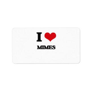 I Love Mimes Address Label