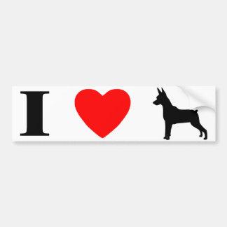 I Love Min Pins Bumper Sticker