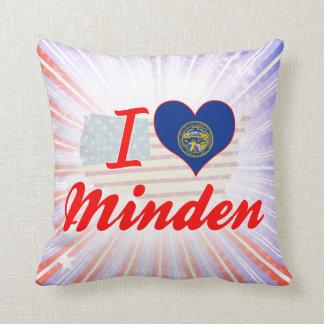 I Love Minden, Nebraska Throw Pillows