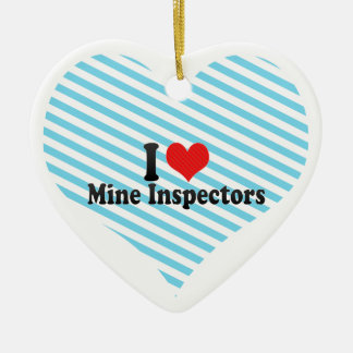 I Love Mine Inspectors Double-Sided Heart Ceramic Christmas Ornament